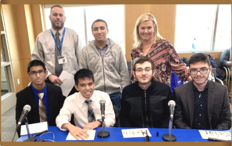 Pictured from left to right:  Above - Mr. Sossin, Emilio Arroyo, Mrs. Tomko Below - Umair Khan, Gerard Nifras, Metin San, Brian Kataro