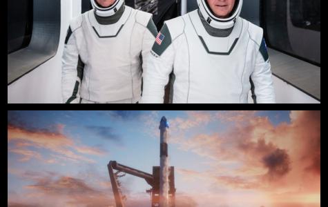 Pictured Above: Robert Behnken (Top Left), Douglas Hurley (Top Right), Crew Dragon Spacecraft at Launch (Bottom)